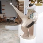 Modern sundial, Tinos. An excellent contemporary design in stainless steel.